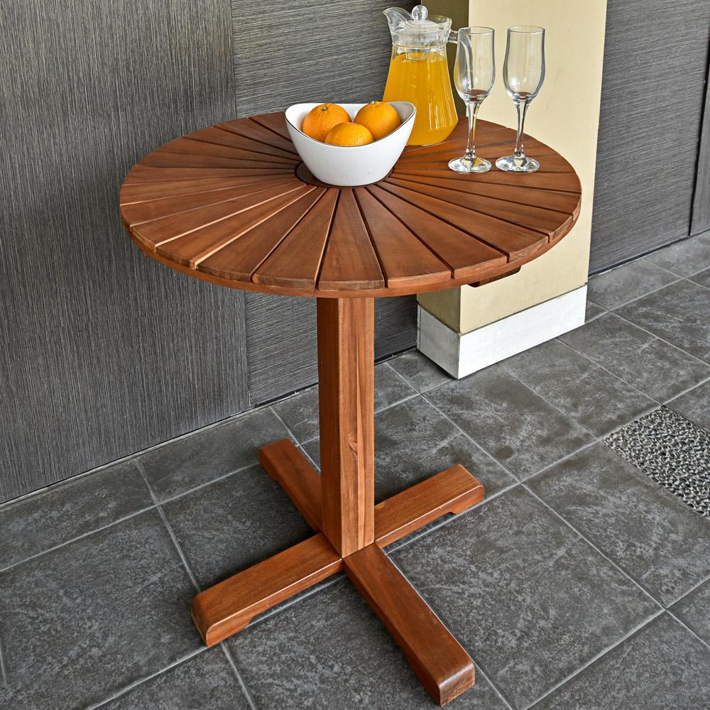 table de jardin appoint balcon terrasse bar bois dacacia huil 705cm brun - Table En Pierre Exterieur