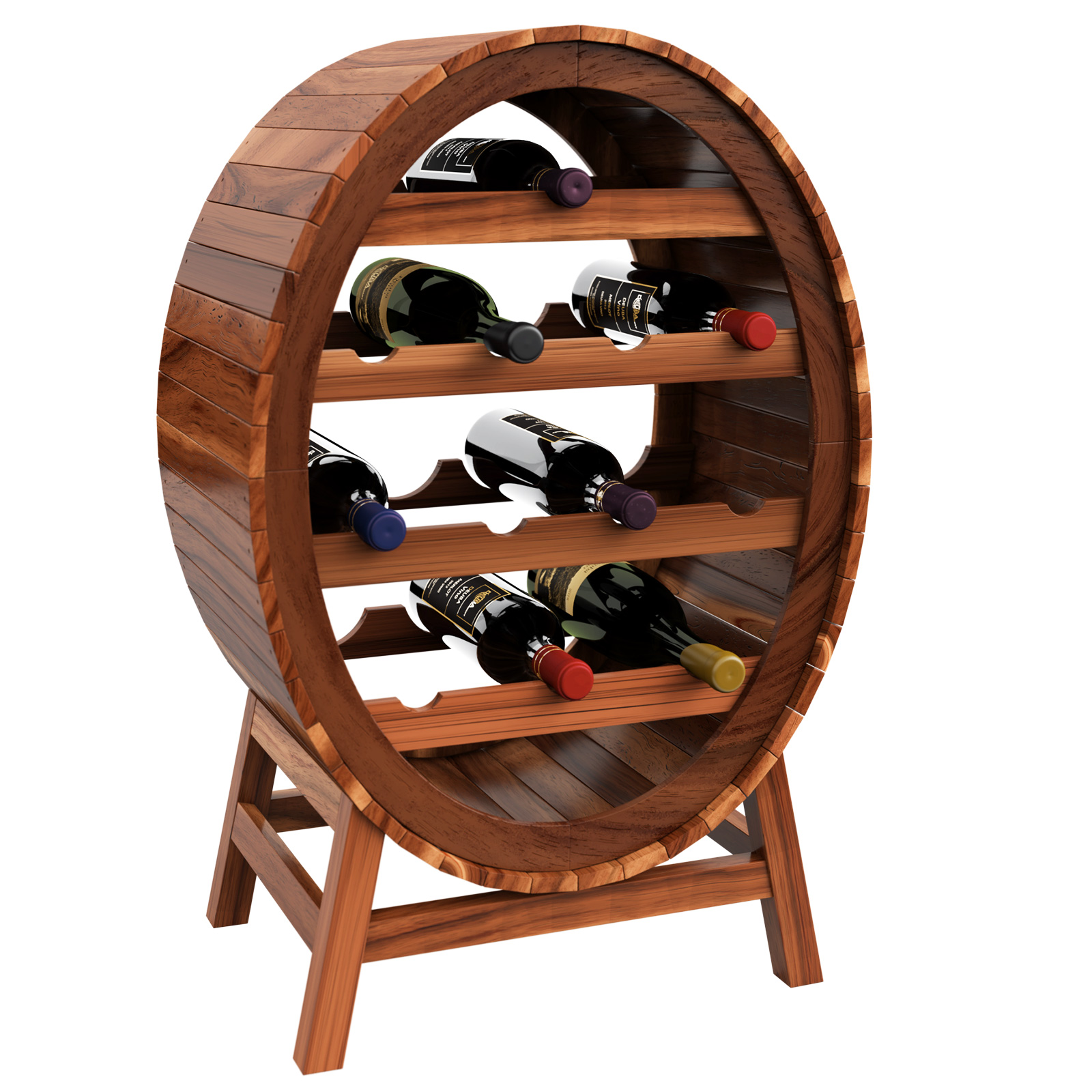 Wine Rack Barrel Free Standing 12 Bottle Holder Wooden