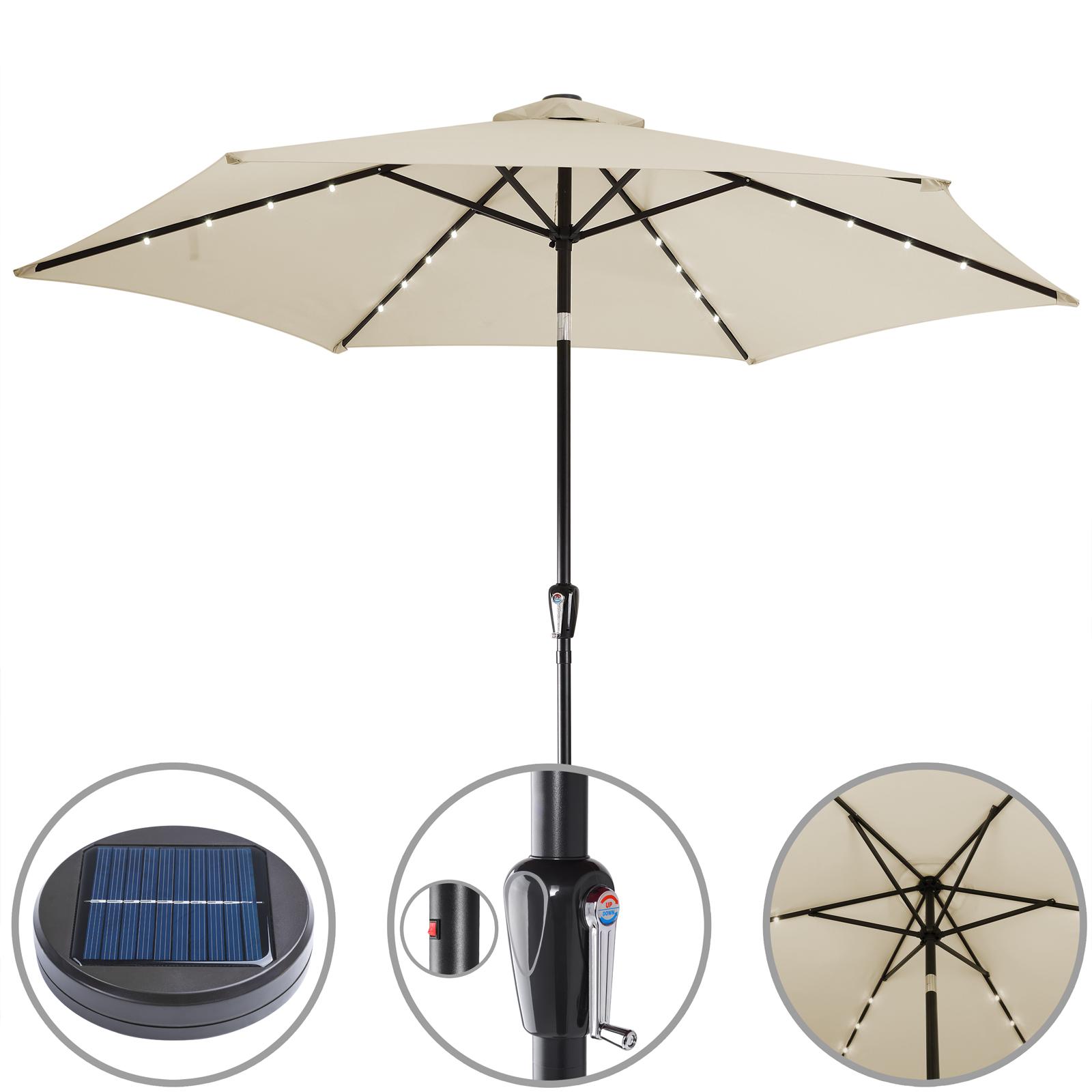 parasol solaire en aluminium avec manivelle panneau solaire 24 led 270cm ebay. Black Bedroom Furniture Sets. Home Design Ideas