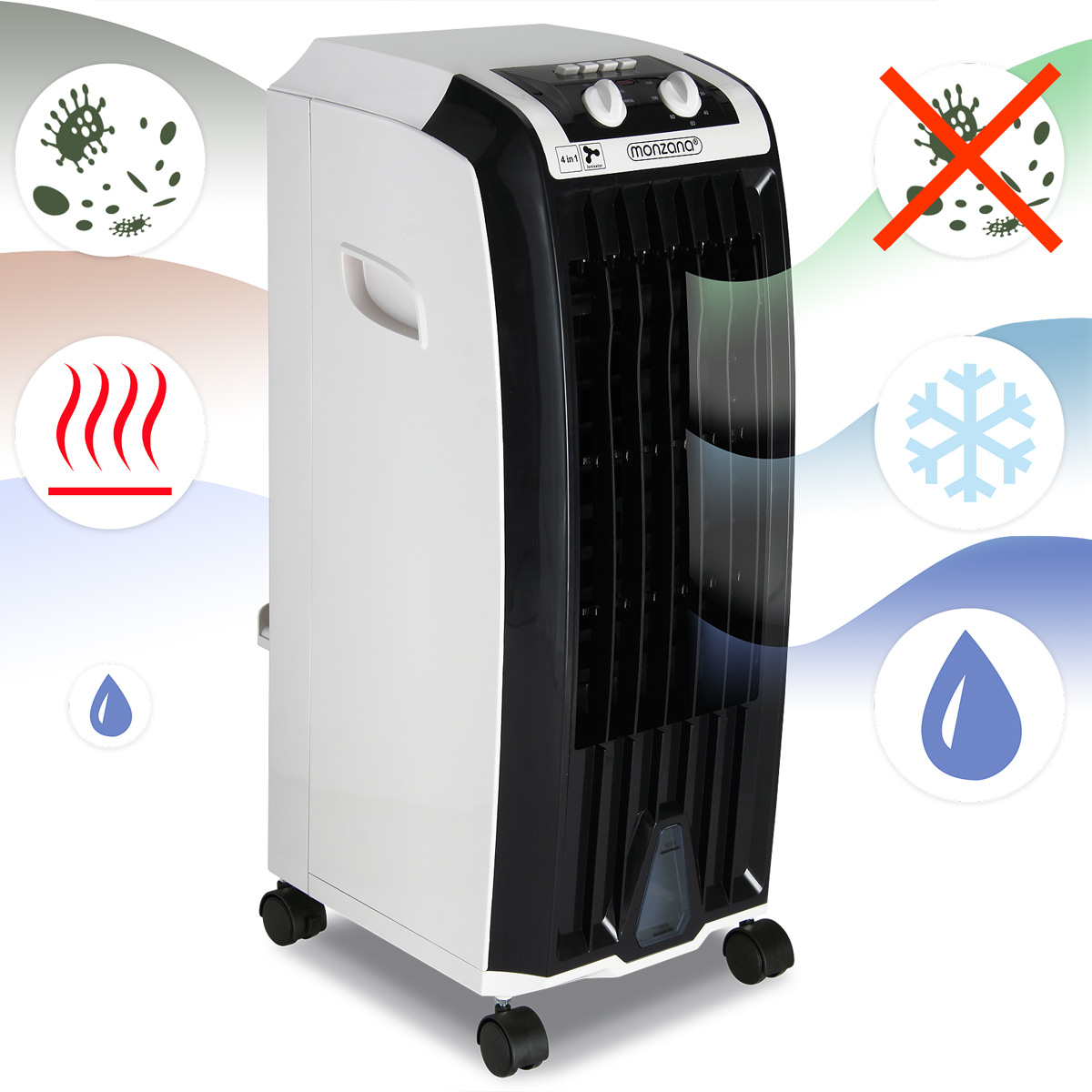 climatiseur 4 en 1 ventilateur climatiseur humidificateur purificateur d 39 air ebay. Black Bedroom Furniture Sets. Home Design Ideas