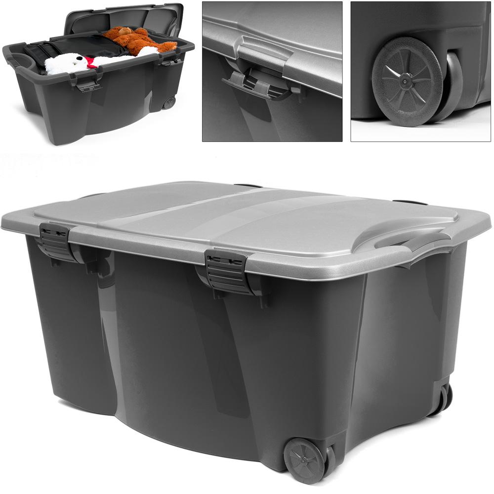 Caisse en plastique 170 Litres - 2 poignées 4 fermoirs - Boîte maison garage | eBay