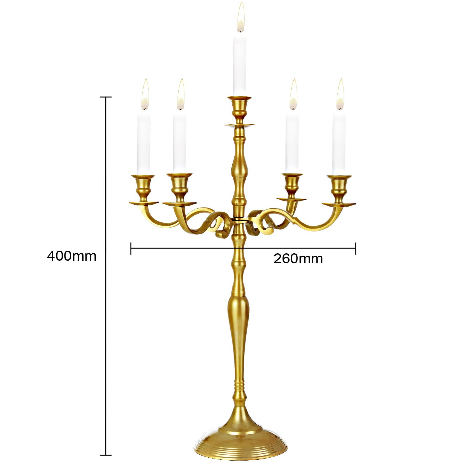 kerzenleuchter 5 armig kerzenst nder kandelaber kerzenhalter leuchter 40cm gold ebay. Black Bedroom Furniture Sets. Home Design Ideas