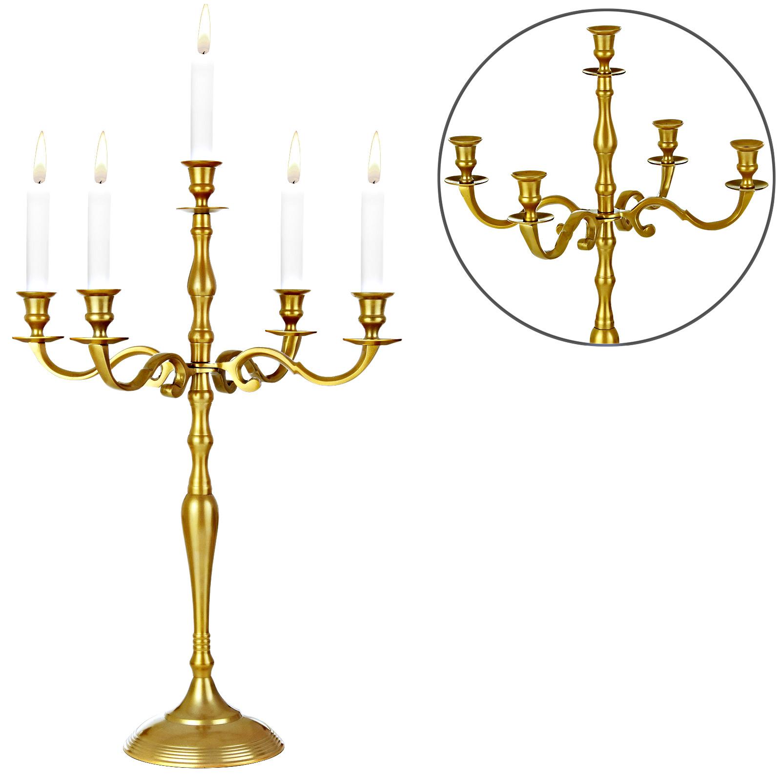 88105201 Kerzenleuchter 5-armig 60cm Aluminium vernickelt gold