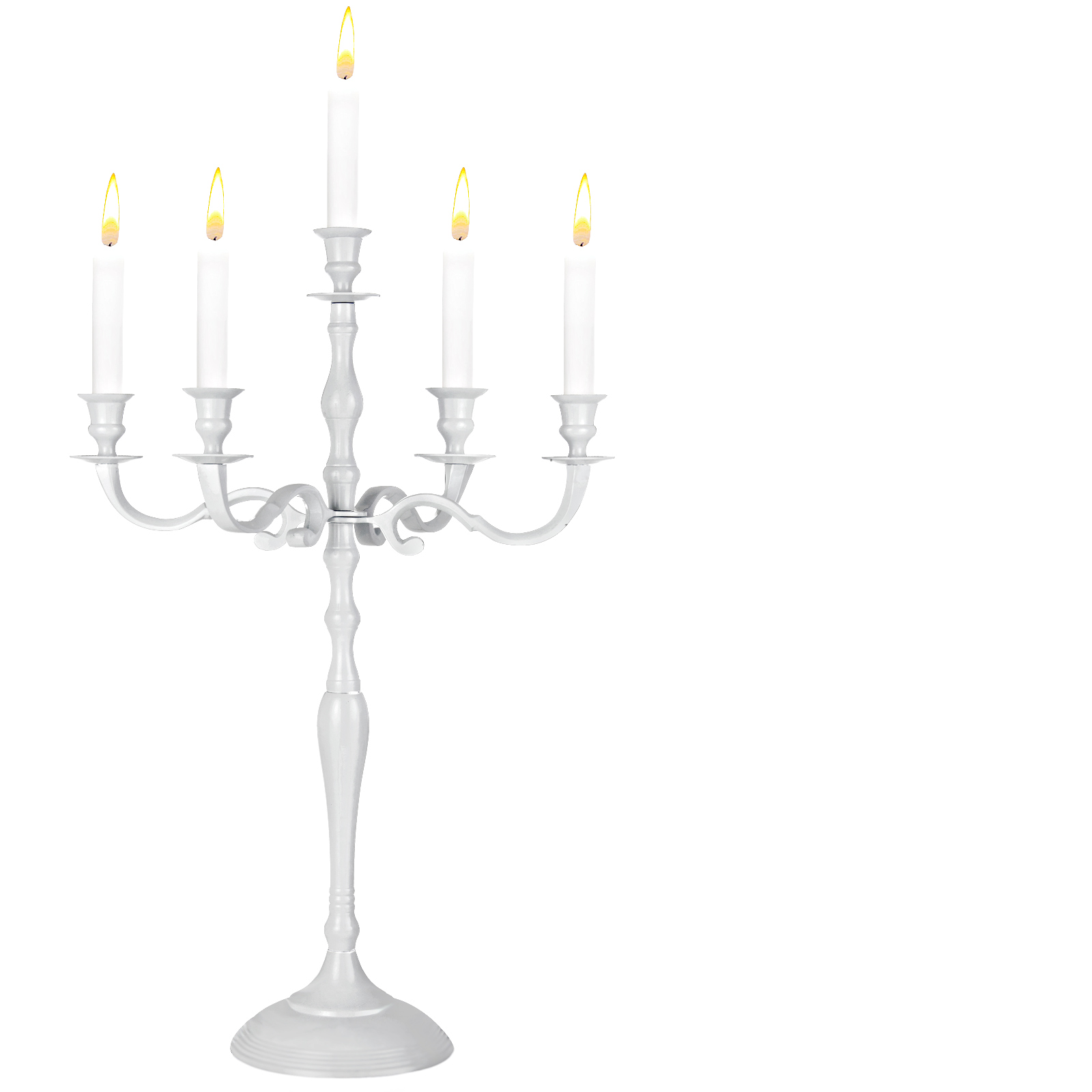 88105203 Kerzenleuchter 5-armig 40cm Aluminium vernickelt weiß