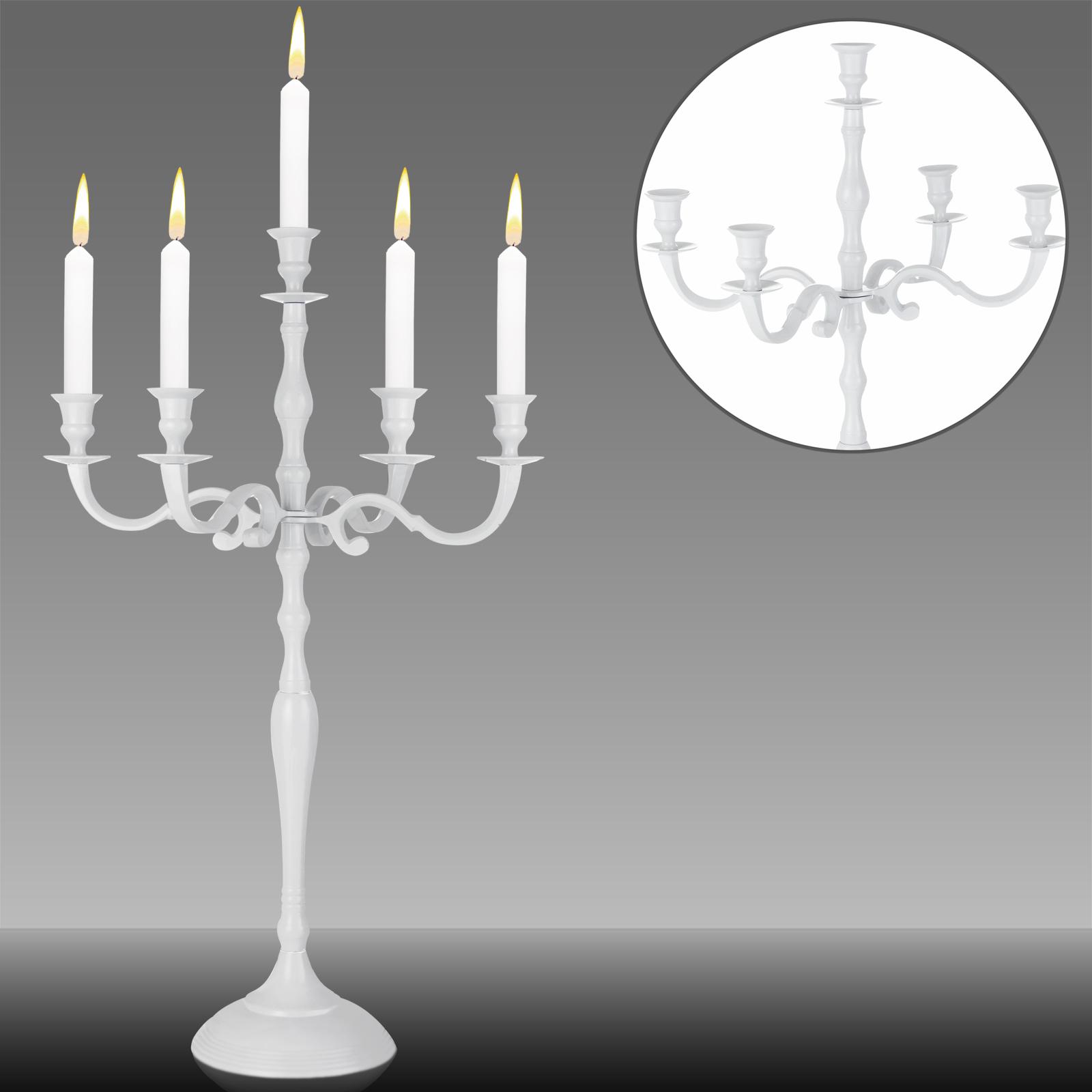 88105204 Kerzenleuchter 5-armig 60cm Aluminium vernickelt weiß