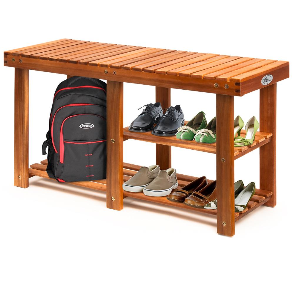 meuble chaussures en bois d 39 acacia tag re armoire banc. Black Bedroom Furniture Sets. Home Design Ideas