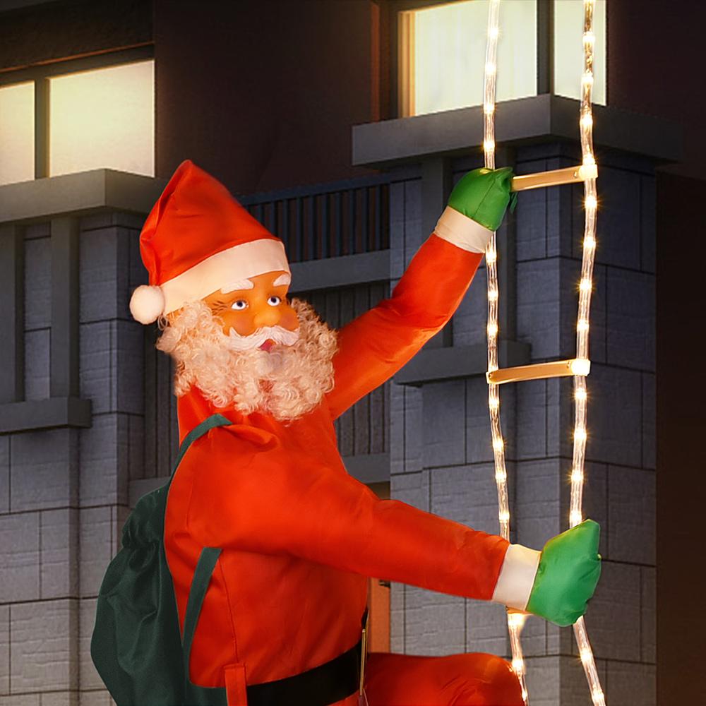 weihnachtsmann leiter led 240cm nikolaus weihnachten deko. Black Bedroom Furniture Sets. Home Design Ideas