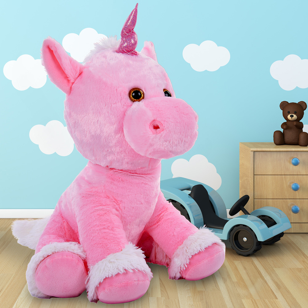 xl kuscheltier einhorn 72cm stofftier pl schtier pl scheinhorn unicorn pink ebay. Black Bedroom Furniture Sets. Home Design Ideas