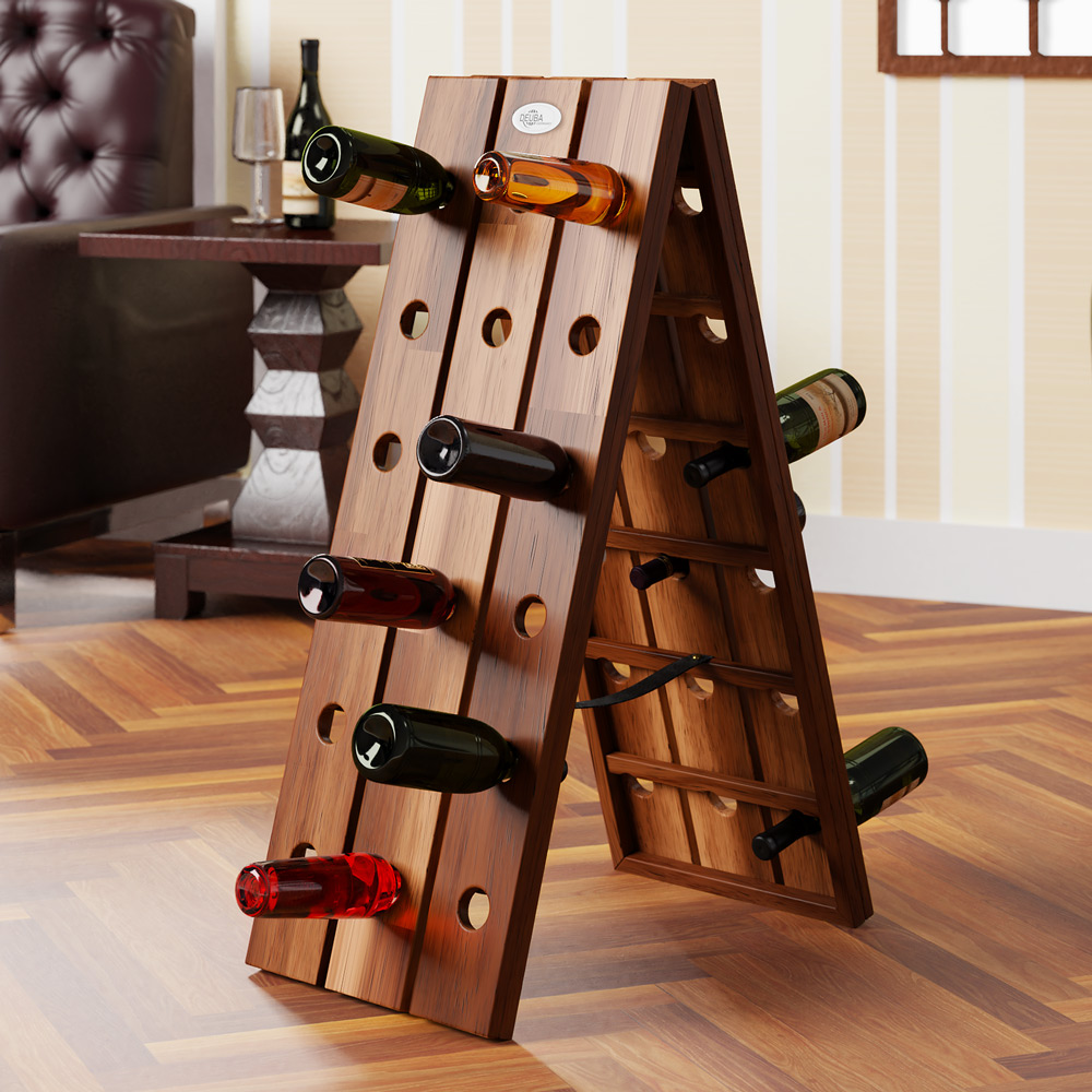 b ware weinregal aus holz f r 36 flaschen flaschenregal. Black Bedroom Furniture Sets. Home Design Ideas