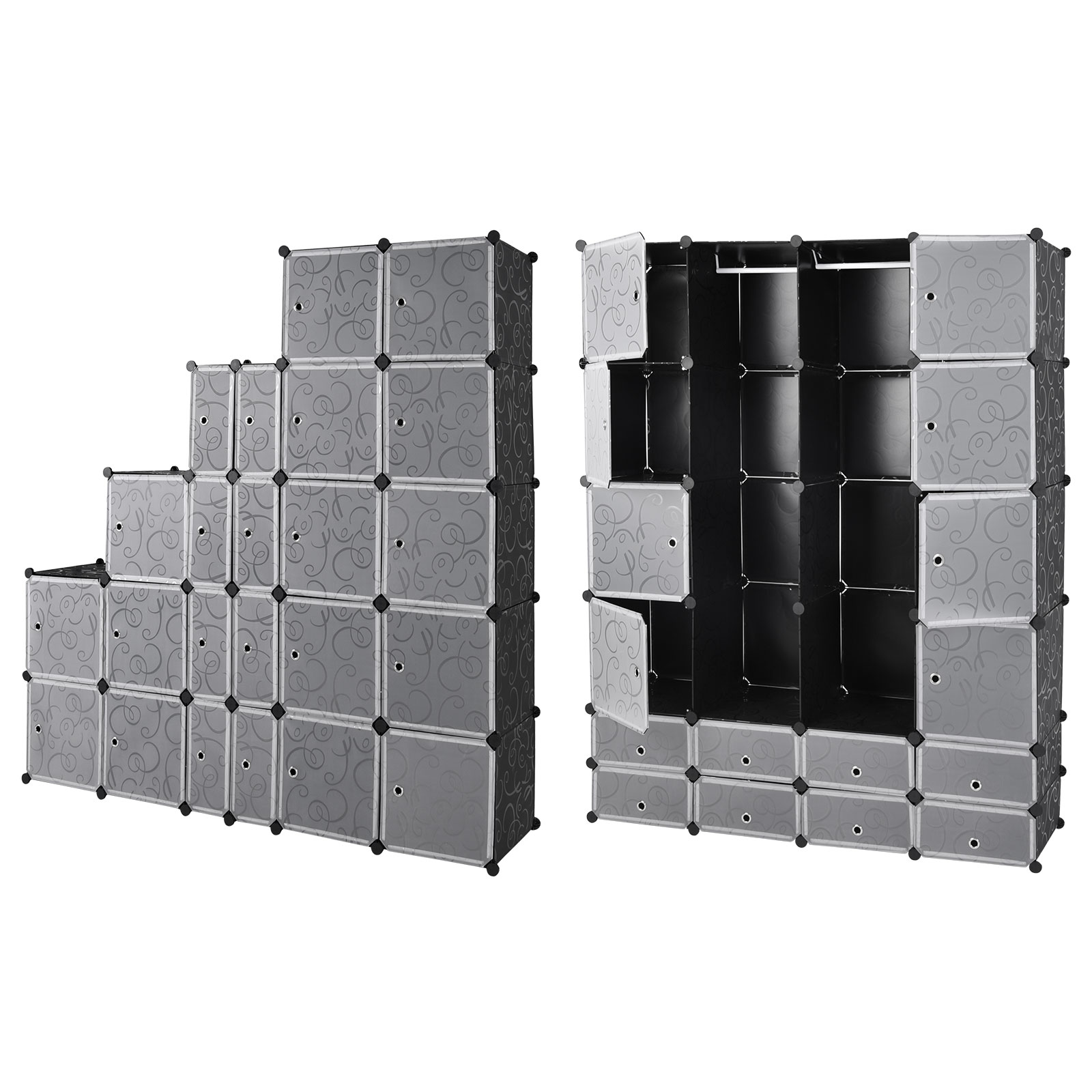 armoire tag re modulable en plastique noir 16 casiers. Black Bedroom Furniture Sets. Home Design Ideas