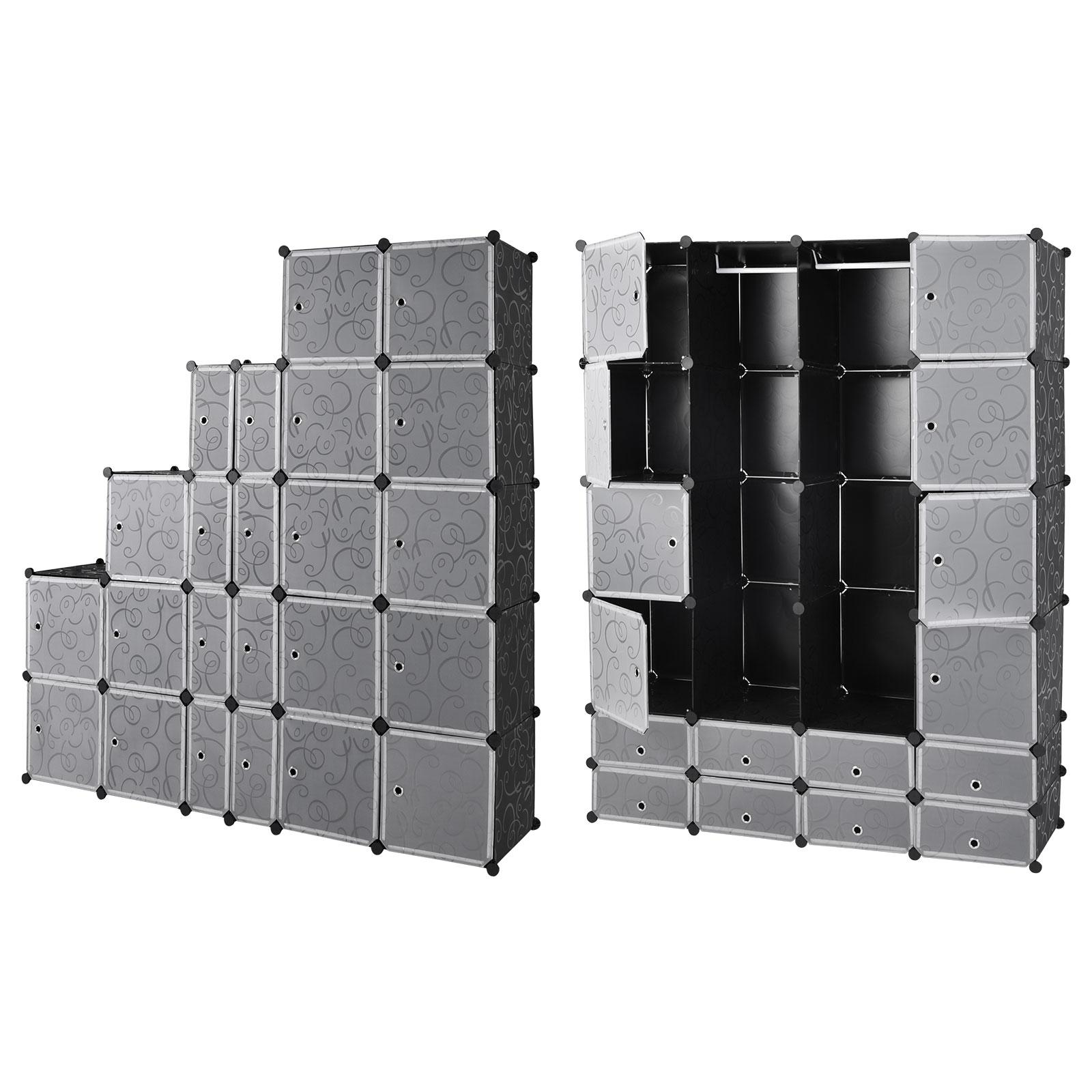 Armoire tag re modulable en plastique noir 16 casiers - Casier en plastique ...