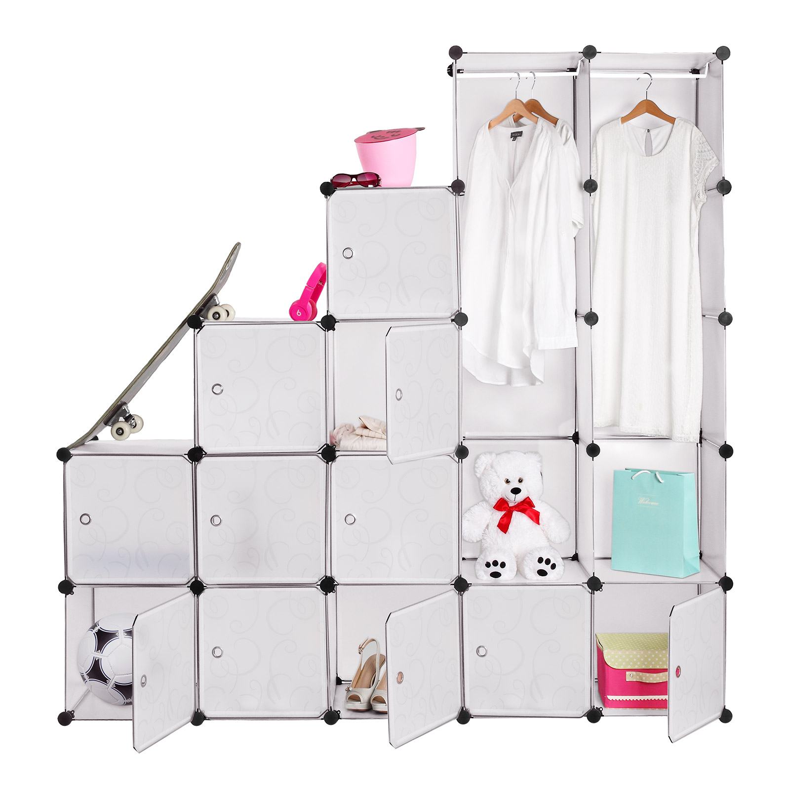armoire tag re modulable en plastique blanc 12 casiers penderies rangement ebay. Black Bedroom Furniture Sets. Home Design Ideas