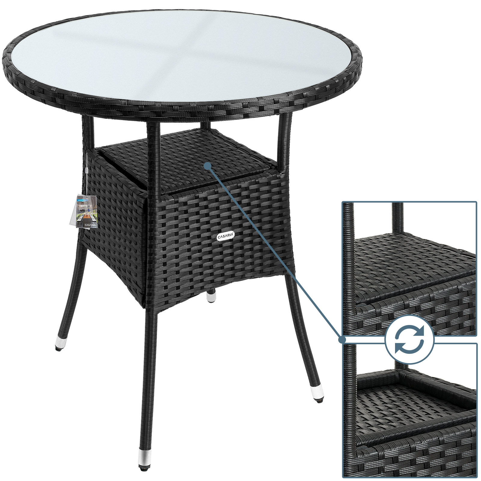 poly rattan side table outdoor patio garden deck coffee. Black Bedroom Furniture Sets. Home Design Ideas