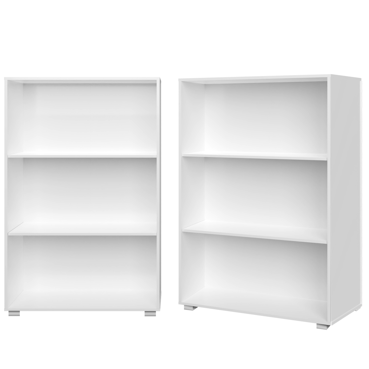 2 Pieces Set Bookcase White Shelves Cupboard Office MDF