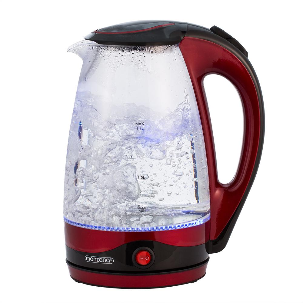 Monzana ® chauffe-eau 1,8 L Acier Inoxydable Verre DEL Théière Réchaud sans fil 2200 W