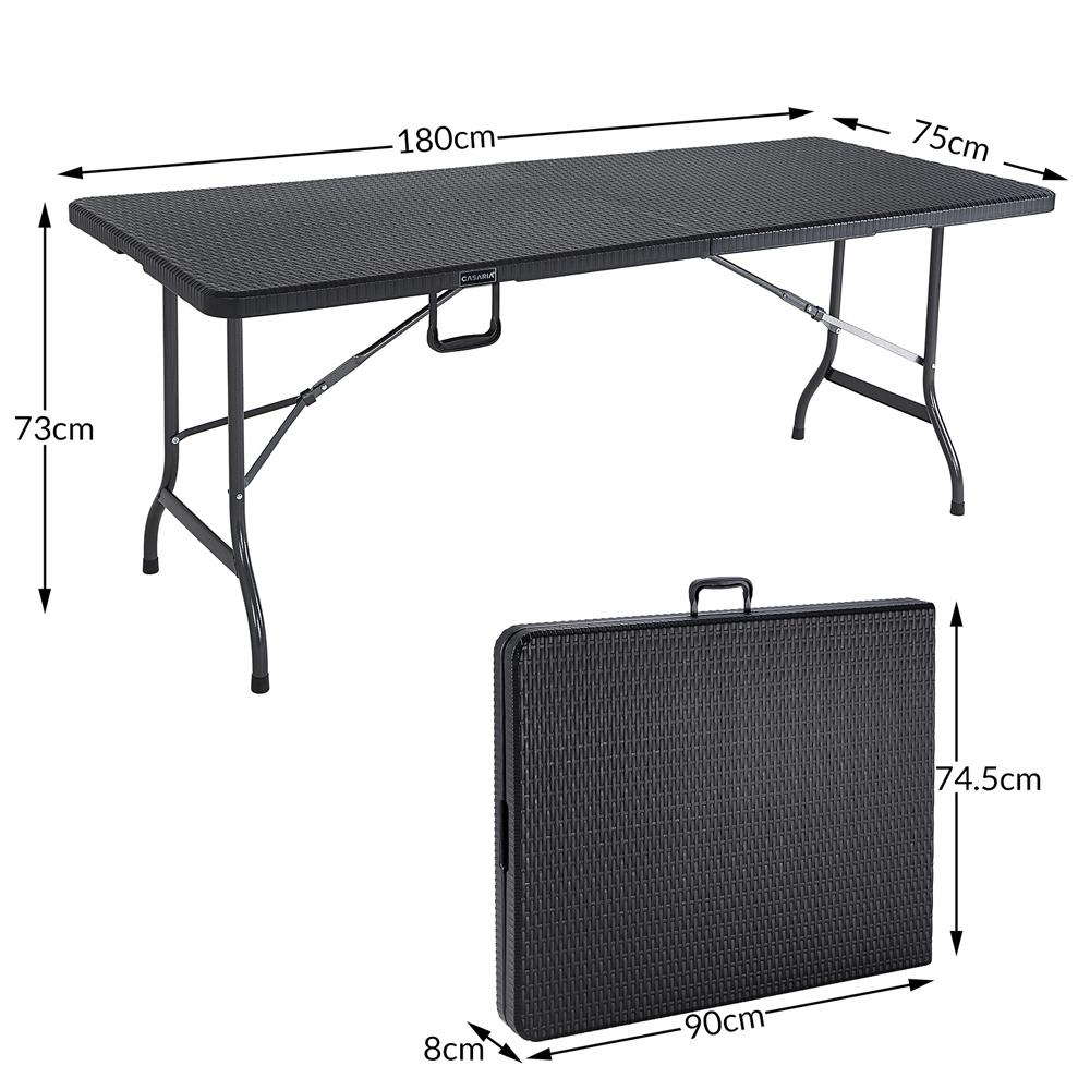 Détails sur Table de jardin pliable plastique polyrotin noir 180cm fête  buffet jardin party