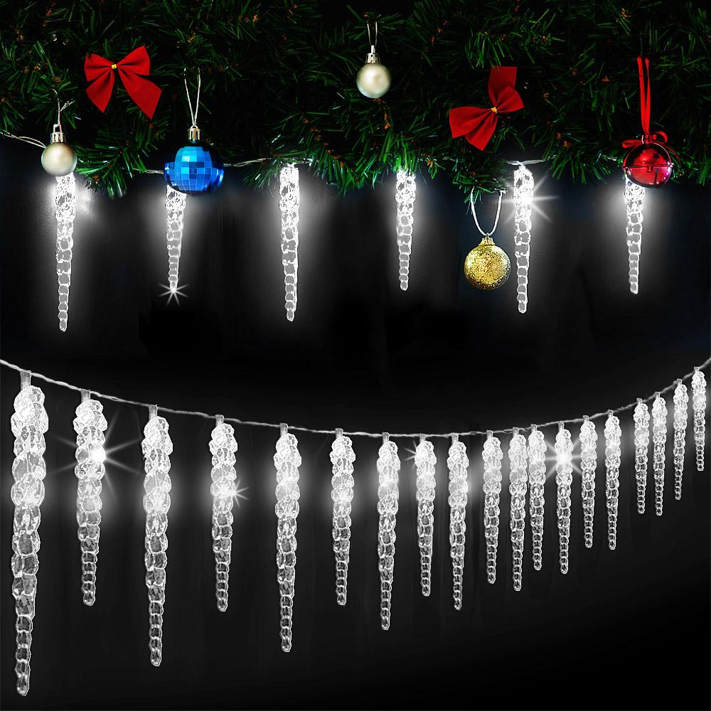 Eiszapfen Lichterkette 40 LED kaltweiß Deko Christbaum Weihnachtsbeleuchtung 10m