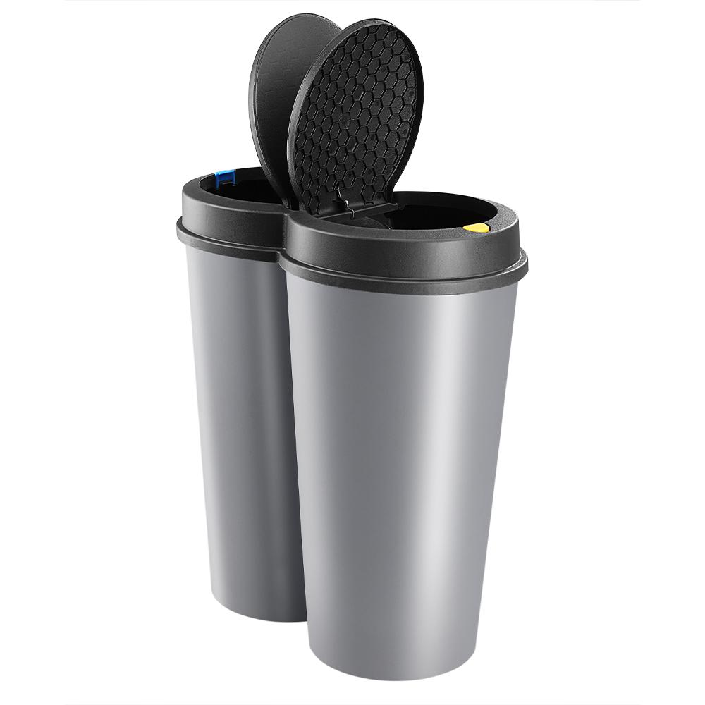 double poubelle 2x25l gris poubelle duo pour tri s lectif recyclage des d chets ebay. Black Bedroom Furniture Sets. Home Design Ideas