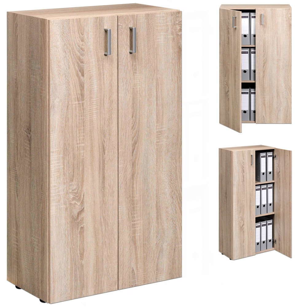 meuble rangement armoire 2 portes tag re salon 115 5 cm naturel 2 tablettes ebay. Black Bedroom Furniture Sets. Home Design Ideas