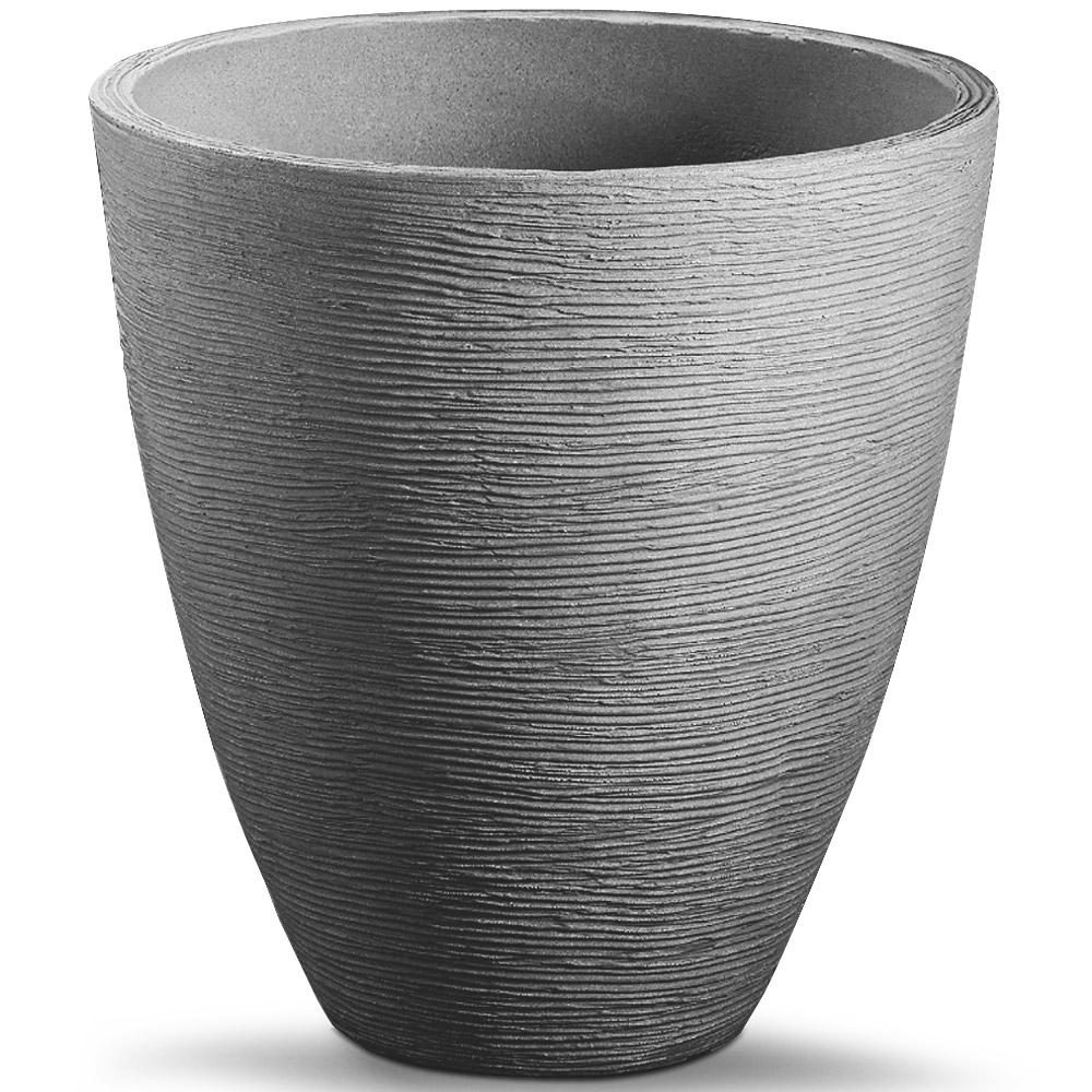plant pot large round flower pot box patio terrace flower box black grey 42cm ebay. Black Bedroom Furniture Sets. Home Design Ideas
