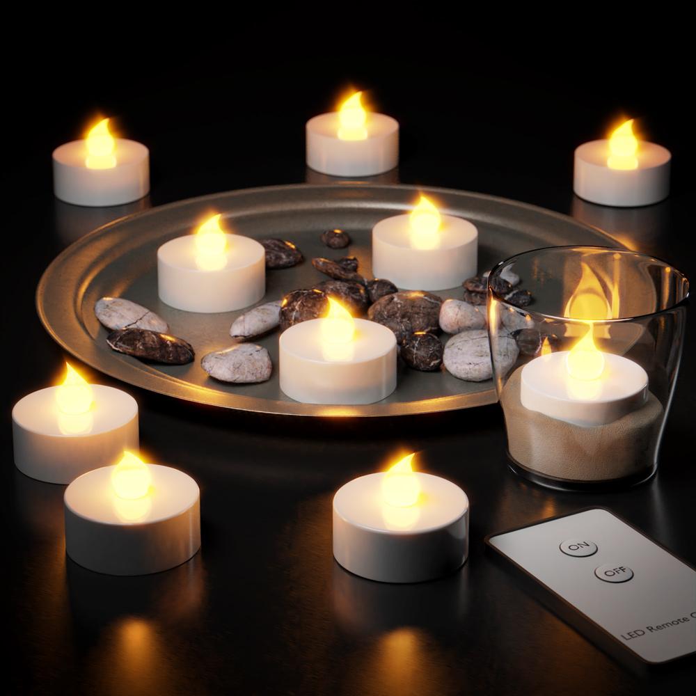 88103236 10x flackernde LED Teelichter warmweiß mit Fernbedienung (Ein/Aus)