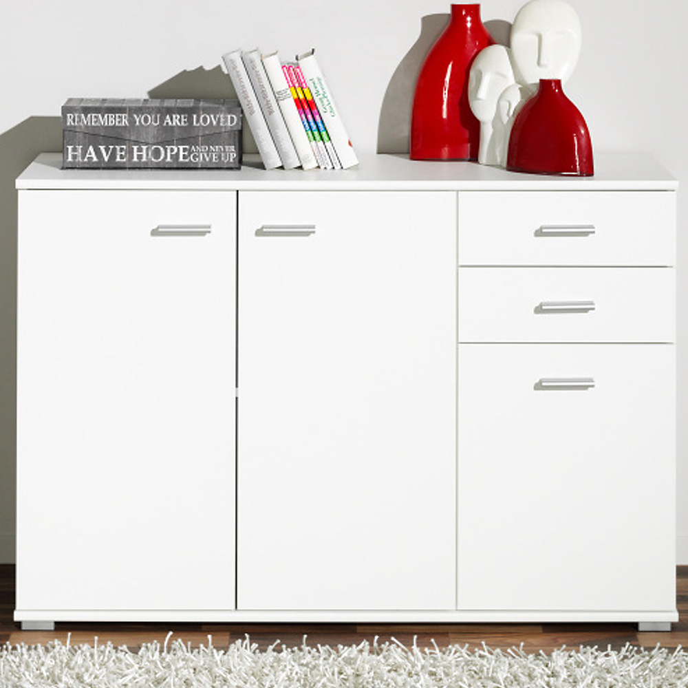 CS Schmal Sideboard Storage Cabinet Wooden Cupboard Buffet Chest Drawers White eBay