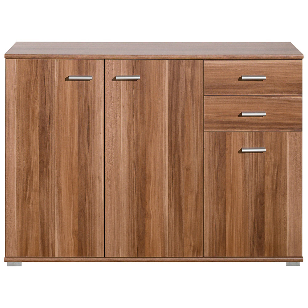 cs schmal sideboard highboard kommode mehrzweckschrank b cherregal nussbaum ebay. Black Bedroom Furniture Sets. Home Design Ideas