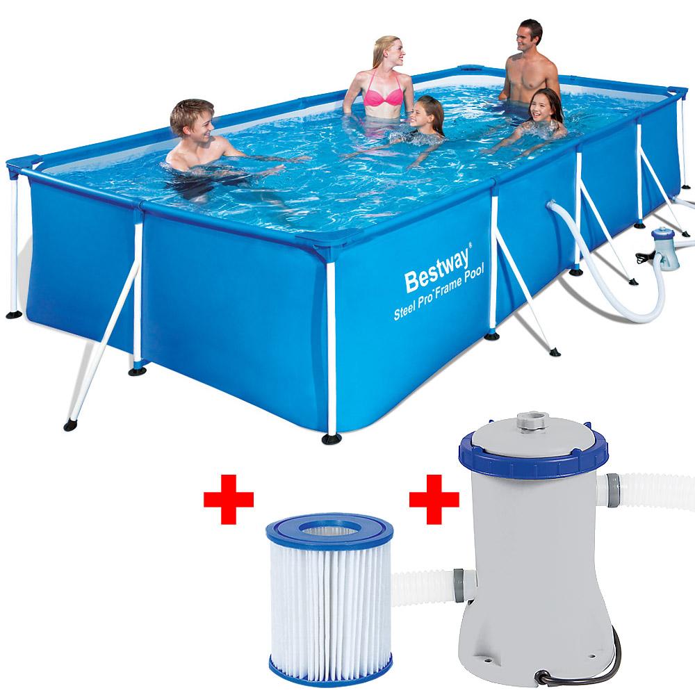 bestway pool schwimmbecken stahlrahmen rechteckig. Black Bedroom Furniture Sets. Home Design Ideas