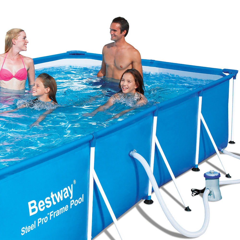 bestway pool schwimmbecken stahlrahmen rechteckig 400x211x81 swimmingpool ebay. Black Bedroom Furniture Sets. Home Design Ideas