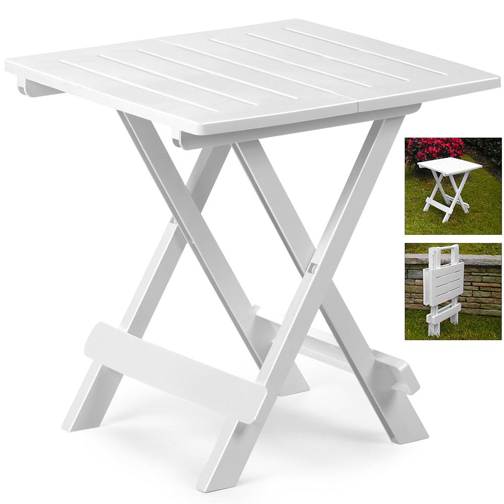 klapptisch beistelltisch terrassen tisch campingtisch klappbar kunststoff wei ebay. Black Bedroom Furniture Sets. Home Design Ideas