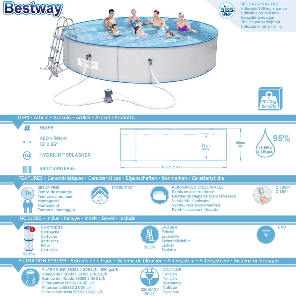 Bestway pool schwimmbecken swimming stahlwand hydrium for Schwimmbecken stahlwand set