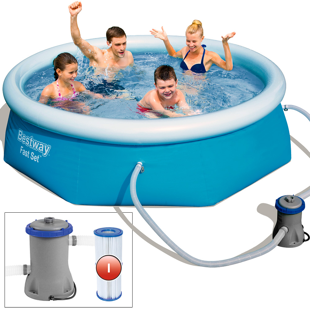 Bestway swimming pool schwimmbecken schwimmbad fast set - Bestway pool mit sandfilteranlage ...