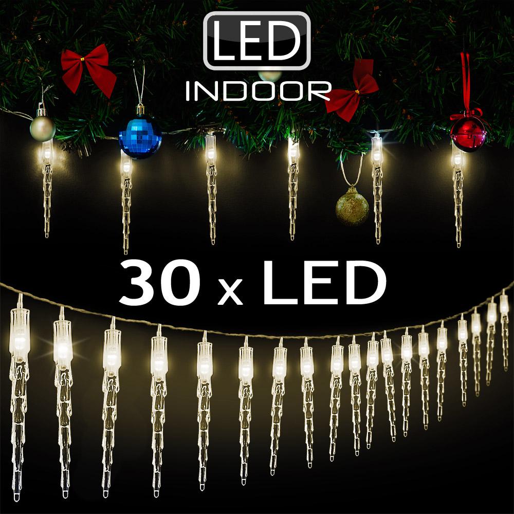 30 led lichterkette weihnachtsdeko fensterdeko eiszapfen. Black Bedroom Furniture Sets. Home Design Ideas
