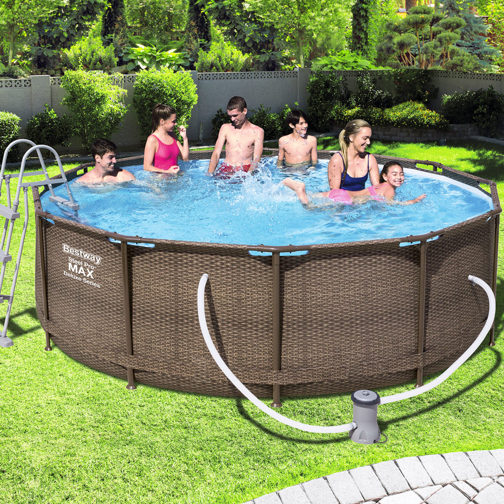bestway swimming schwimmbad frame pool power steel set pumpe 366x100cm ebay. Black Bedroom Furniture Sets. Home Design Ideas