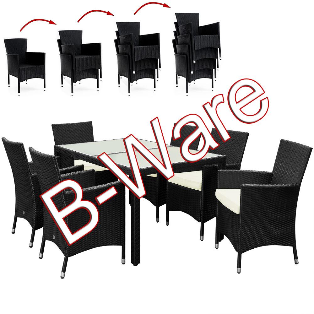 b ware 13tlg sitzgruppe kissen gartenm bel garten set garnitur essgruppe schwarz 4250525331103. Black Bedroom Furniture Sets. Home Design Ideas