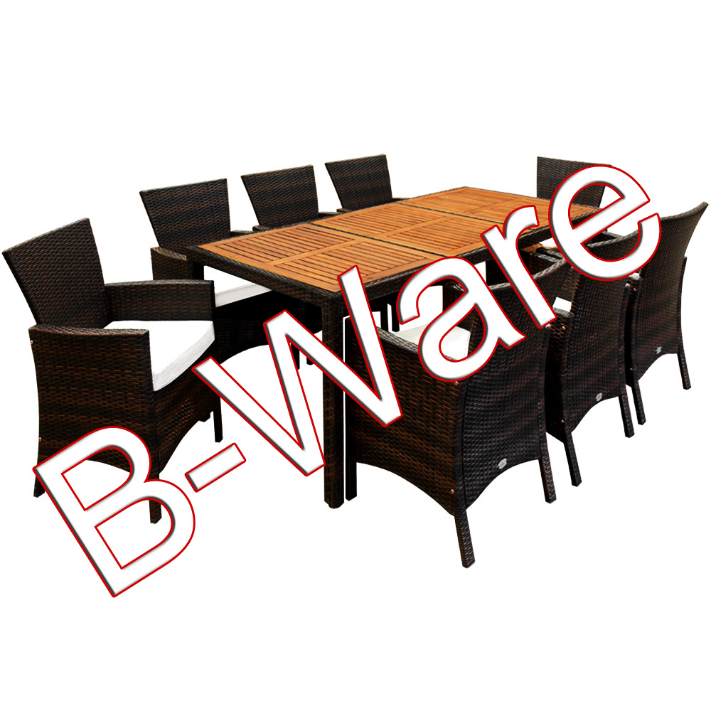 b ware poly rattan sitzgruppe tisch holz gartenm bel gartenset gartengarnitur ebay. Black Bedroom Furniture Sets. Home Design Ideas