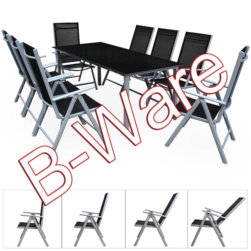b ware alu sitzgruppe 8 1 hochlehner 190cm tisch gartenm bel gartengarnitur ebay. Black Bedroom Furniture Sets. Home Design Ideas