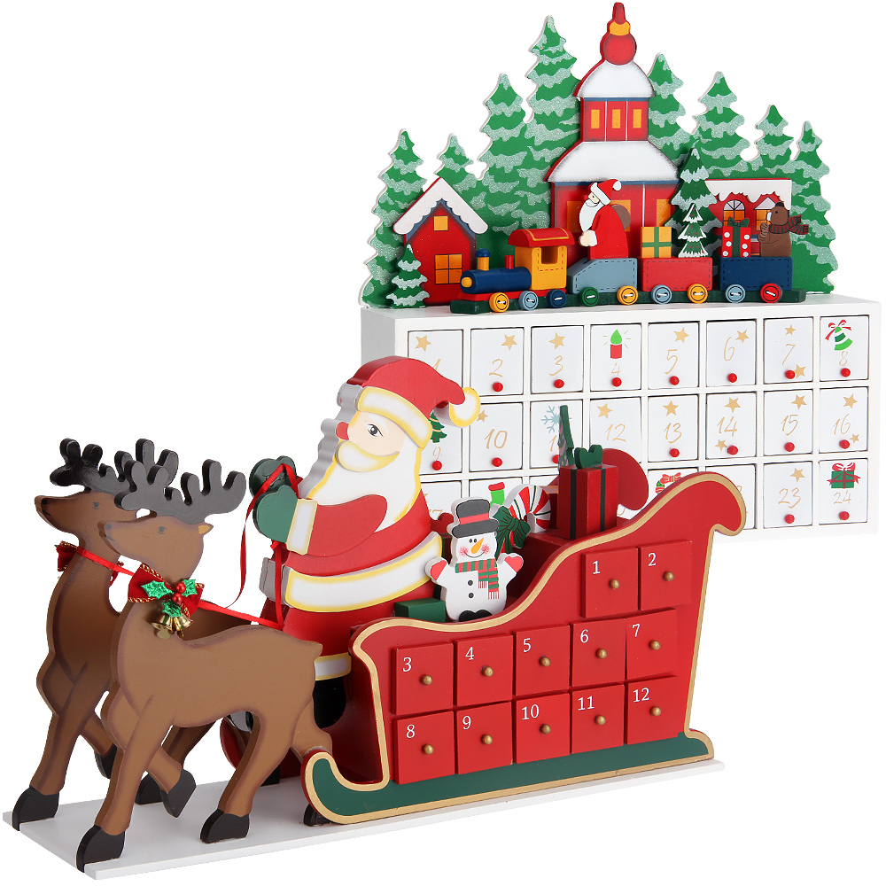 advent calendar christmas decoration wood reusable refillable xmas countdown ebay. Black Bedroom Furniture Sets. Home Design Ideas