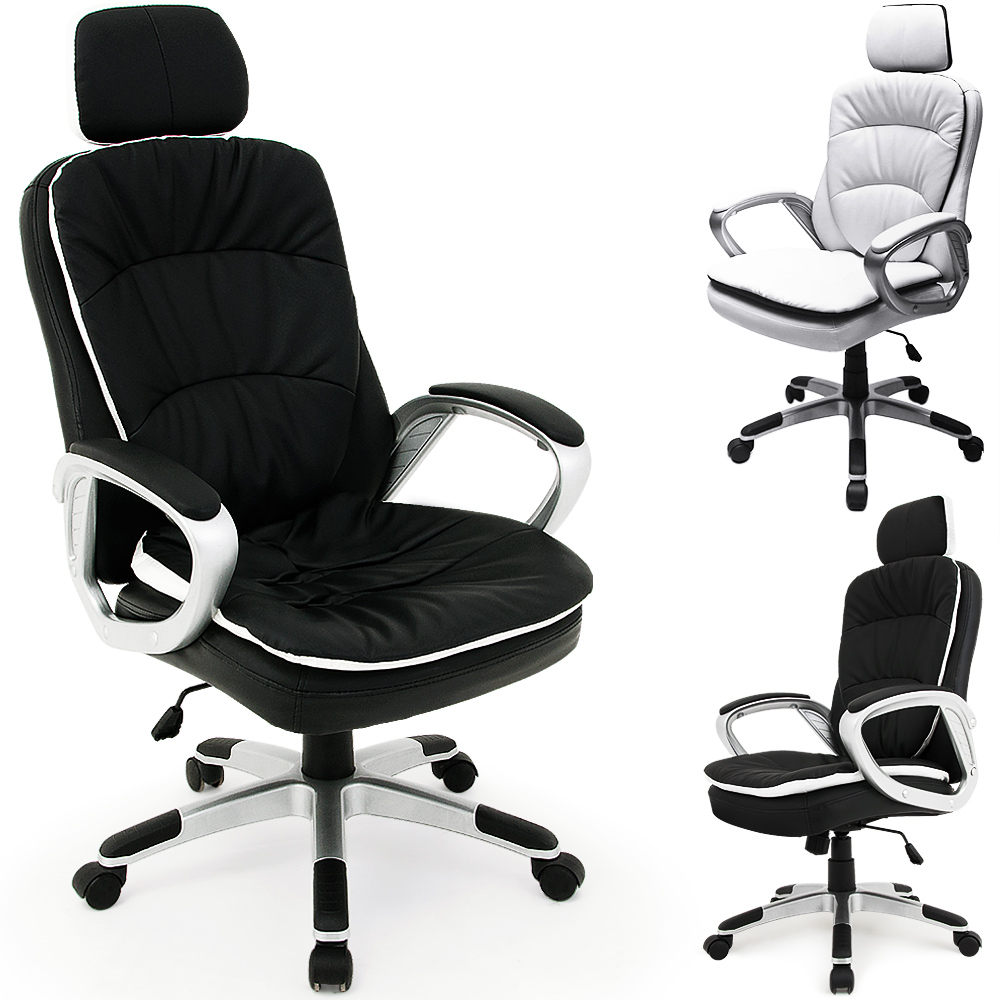 office chair headrest desk computer leather luxury white black