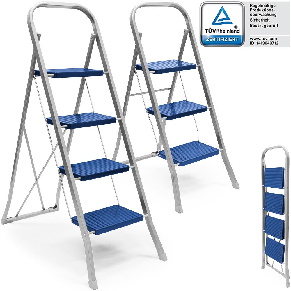 haushaltsleiter klapptritt 3 4 stufen stehleiter stahl trittleiter leiter 150kg ebay. Black Bedroom Furniture Sets. Home Design Ideas