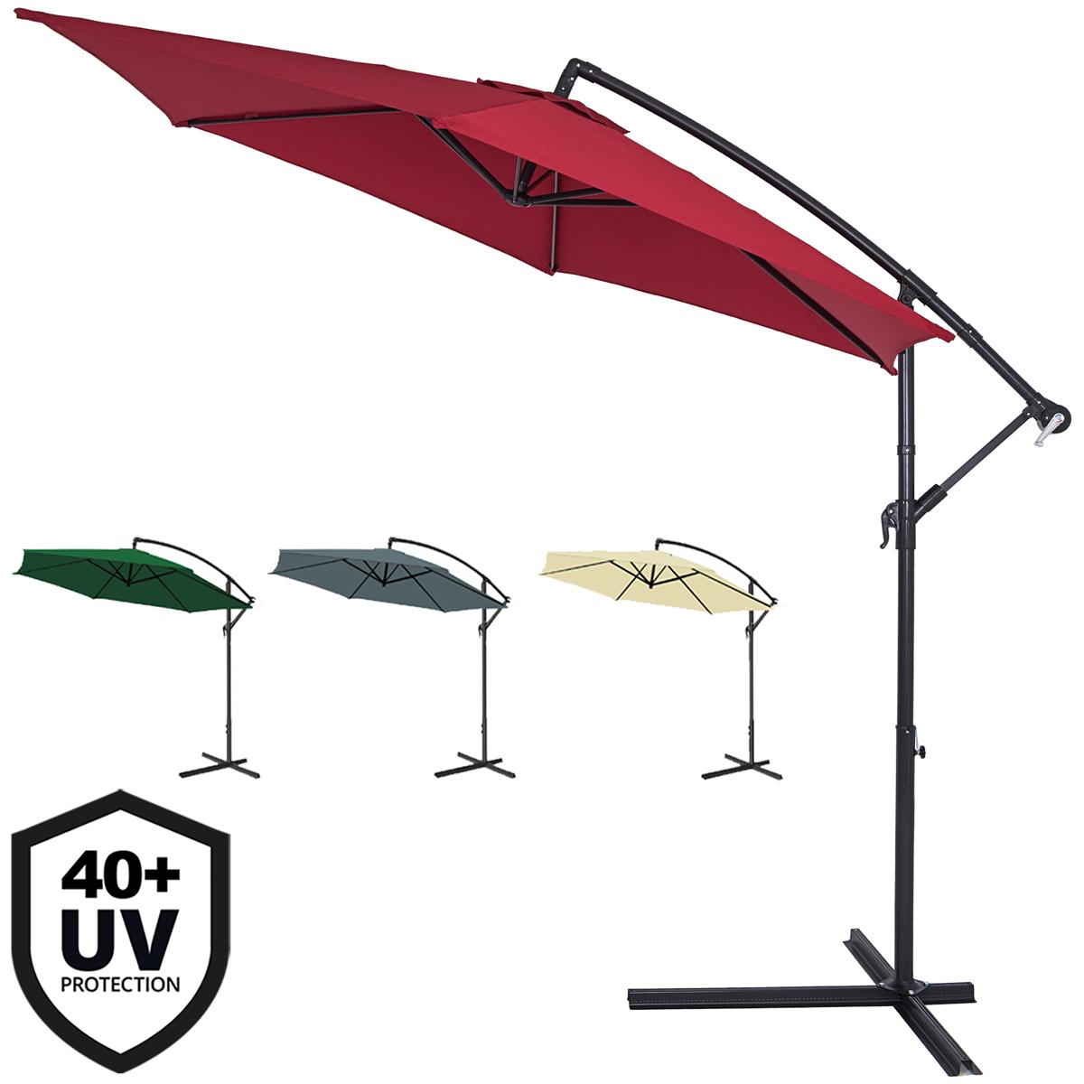 alu sonnenschirm ampelschirm kurbel schirm garten 300cm farbwahl uv schutz 40 ebay. Black Bedroom Furniture Sets. Home Design Ideas