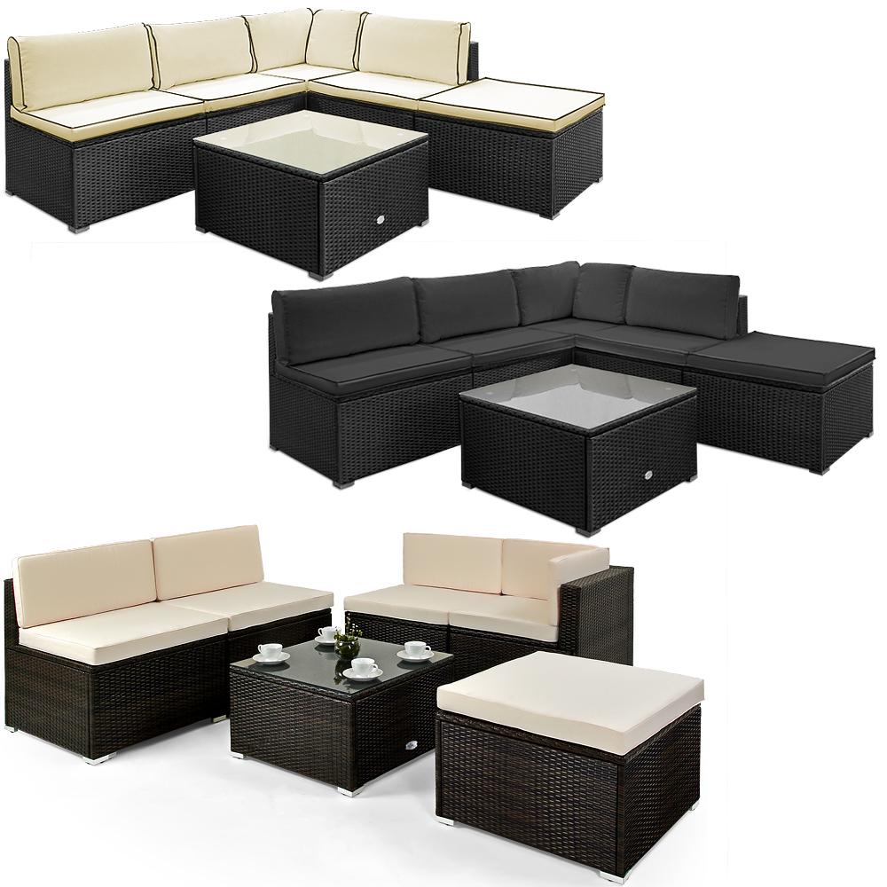 Deuba poly rattan lounge sofa gartenm bel sitzgruppe wasserabweisend farbwahl ebay - Gemutliche gartenmobel ...