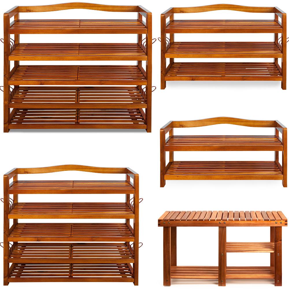 holz schuhregal mit oder ohne sitzbank schuh akazie schuhschrank schuhst nder ebay. Black Bedroom Furniture Sets. Home Design Ideas