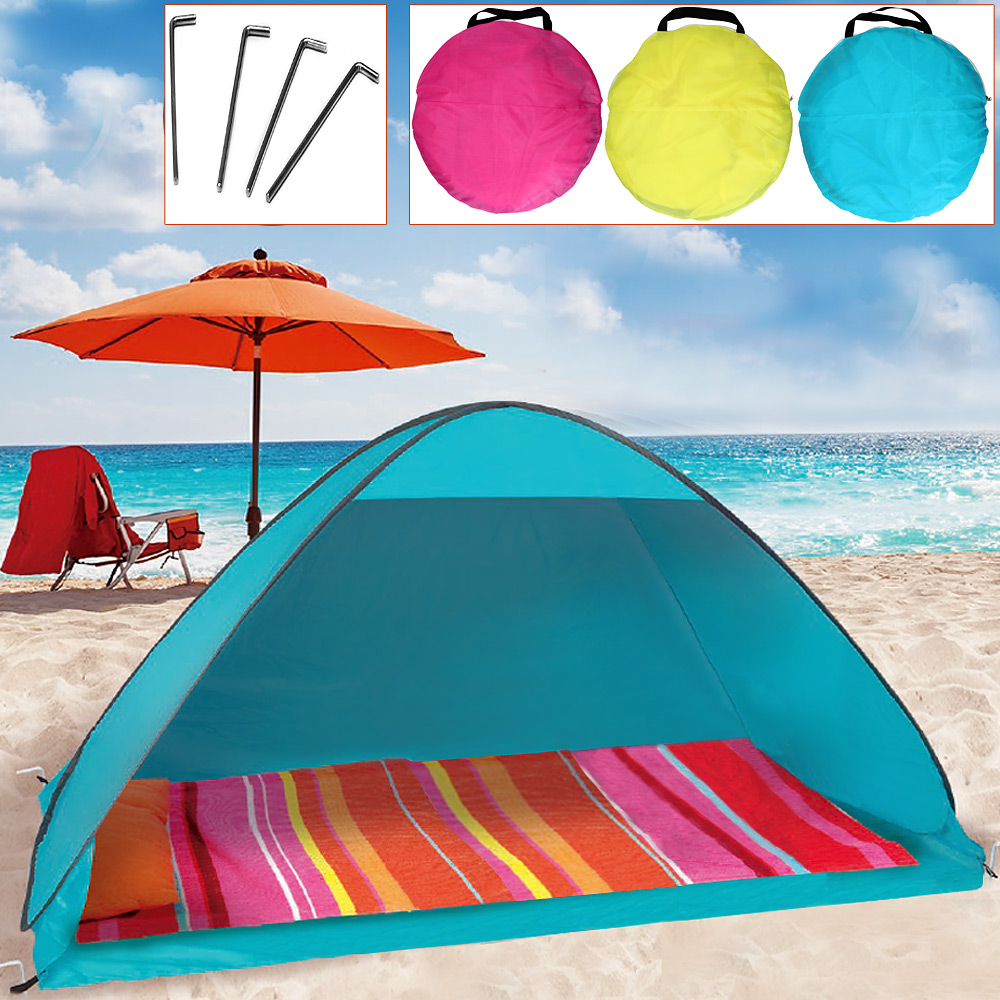 camp active tente de plage pop up 200x125x110cm abri de plage soleil t ebay. Black Bedroom Furniture Sets. Home Design Ideas