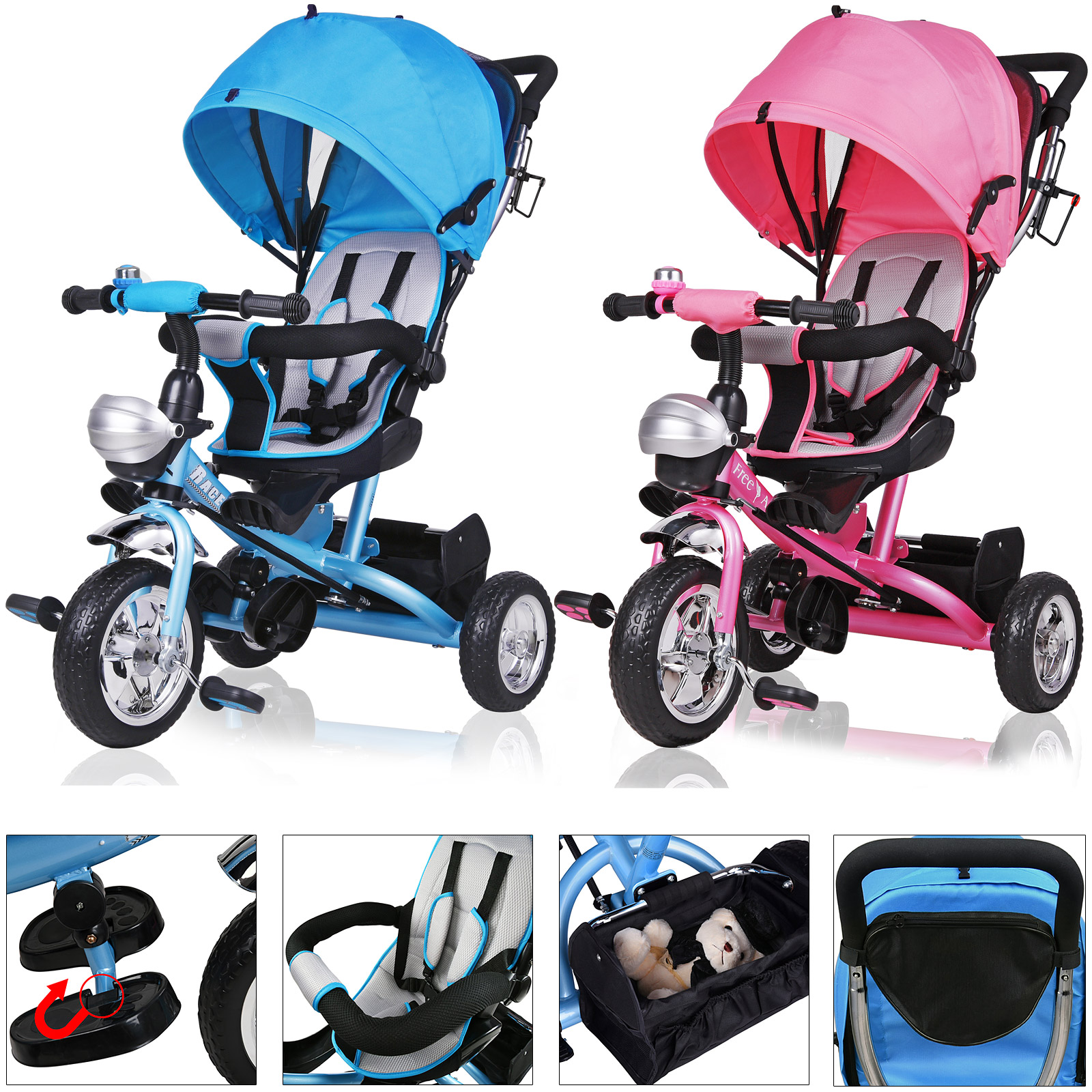 deuba dreirad kinderdreirad kinder lenkstange dach fahrrad baby kinderwagen ebay. Black Bedroom Furniture Sets. Home Design Ideas