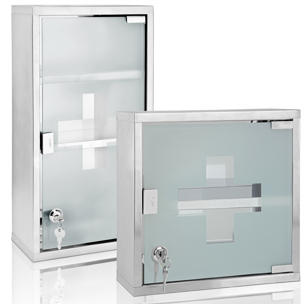 huge discount f1b84 e8250 Details about Deuba® Medicine Cabinet Wall Mounted First Aid Lockable Glass  Steel Cupboard Box