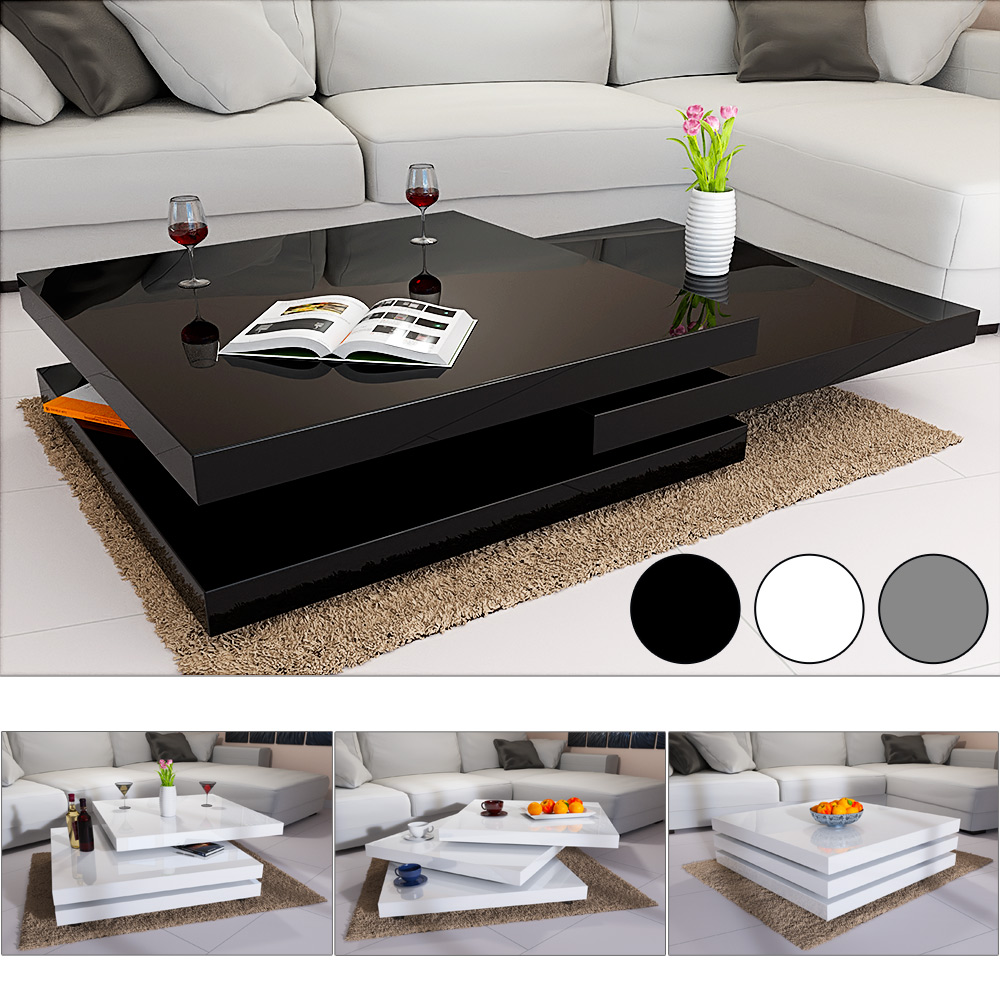 Glass Coffee Table For Sale On Ebay: Rotating Coffee Table High Gloss Layers Modern Living Room