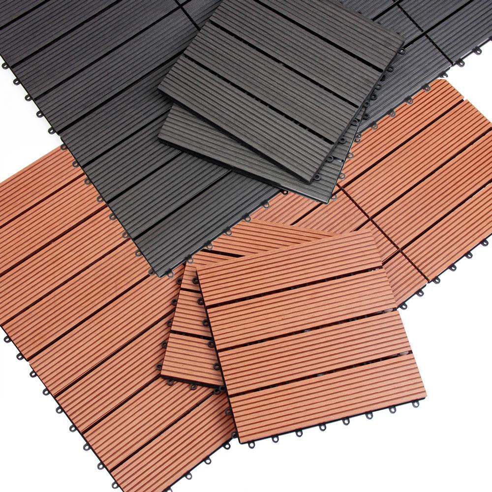11x ou 33x dalles de terrasse en bois composite wpc 30x30 cm