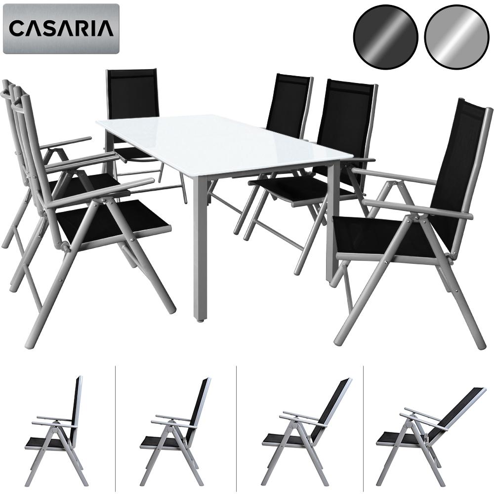 Détails sur CASARIA® Salon de jardin aluminium »Bern« 1 table 6 chaises  différentes couleurs