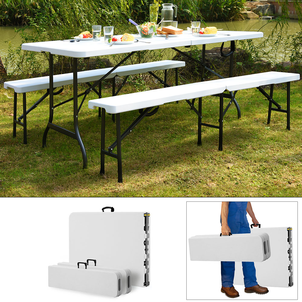 ensemble table bancs camping pliable table buffet banc pliant jardin 183cm ebay. Black Bedroom Furniture Sets. Home Design Ideas
